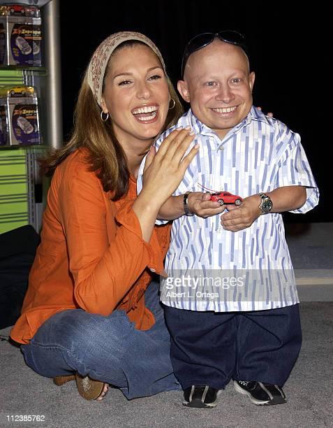 Daisy Fuentes and Verne Troyer during Press Conference to Announce the Launch of ZipZaps PocketSized Radio Controlled Racers from Radio Shack at The...