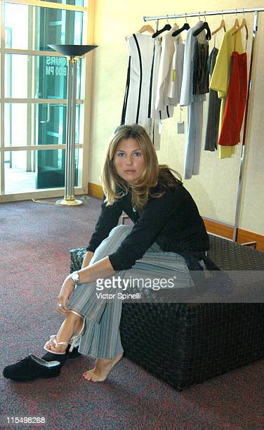 Daisy Fuentes trying Guiseppe Zanotti shoes during The Best of Italy Designer Showroom Day 4 at Le Meridian Hotel in Beverly Hills California United...