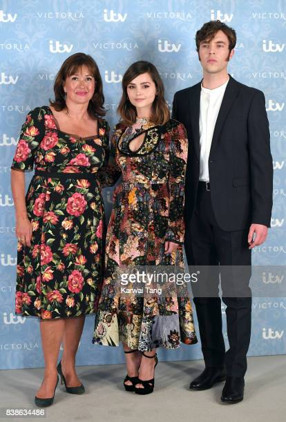 Daisy Goodwin Jenna Coleman and Tom Hughes attend the 'Victoria' Season 2 press screening at the Ham Yard Hotel on August 24 2017 in London England