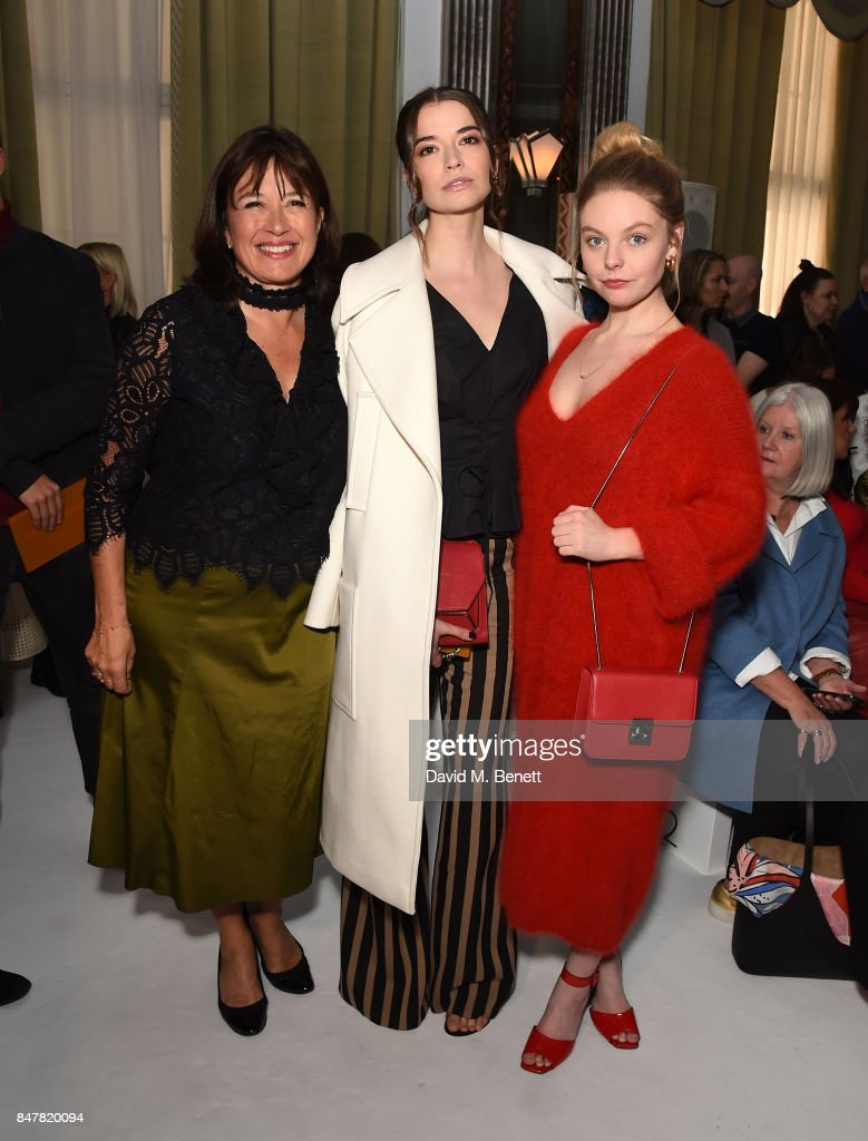 Daisy Goodwin, Margaret Clooney and Nell Hudson attend the Jasper Conran SS18 catwalk show during London Fashion Week September 2017 on September 16, 2017 in London, United Kingdom.