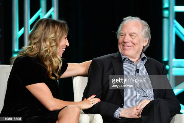 Daisy Haggard and Michael McKean of 'Breeders' speak during the FX segment of the 2020 Winter TCA Tour at The Langham Huntington, Pasadena on January...