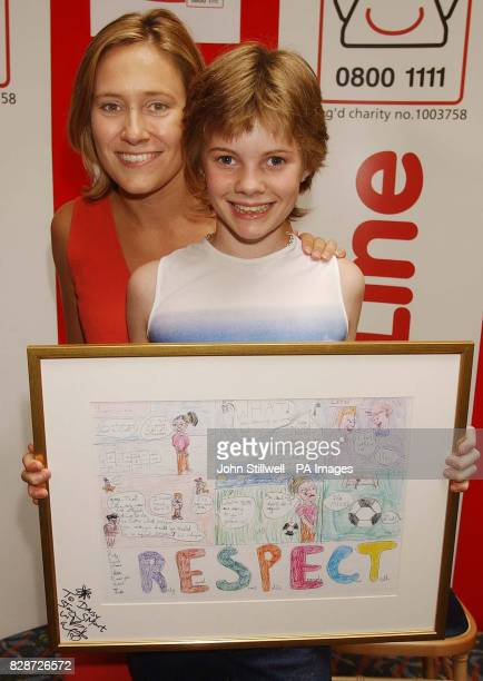 Daisy Hill from New Barnet Herts with BBC TV news presenter Sophie Raworth and her award winning cartoon which she entered in the Childline Cartoon...