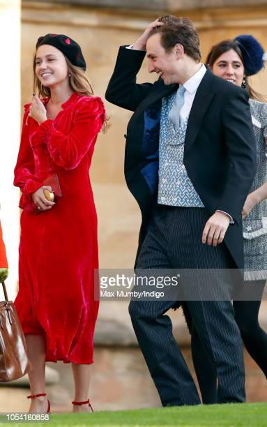 Daisy Jenks and Charlie van Straubenzee attend the wedding of Princess Eugenie of York and Jack Brooksbank at St George's Chapel on October 12, 2018...
