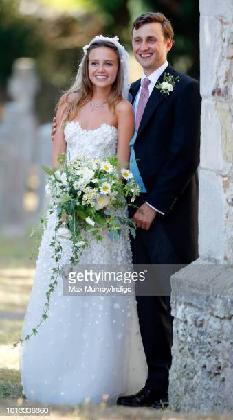 Daisy Jenks and Charlie van Straubenzee leave the church of St Mary the Virgin after their wedding on August 4, 2018 in Frensham, England. Prince...