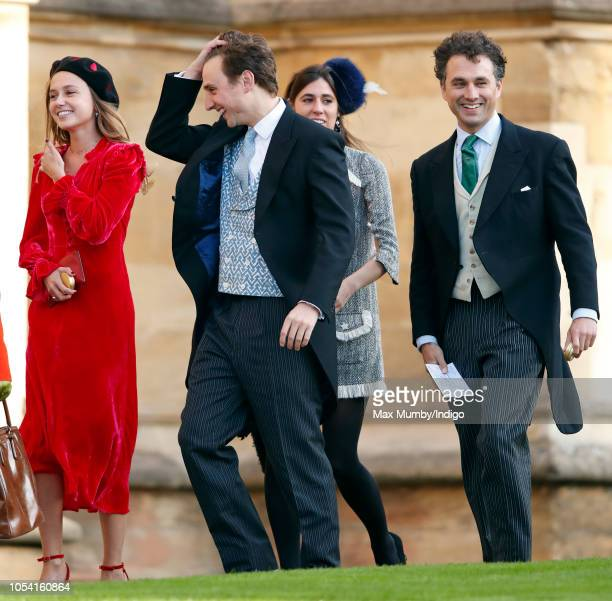 Daisy Jenks, Charlie van Straubenzee and Thomas van Straubenzee attend the wedding of Princess Eugenie of York and Jack Brooksbank at St George's...