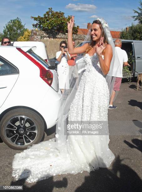 Daisy Jenks outside St Mary the Virgin Church in Frensham Surrey after her wedding to Charlie van Straubenzee