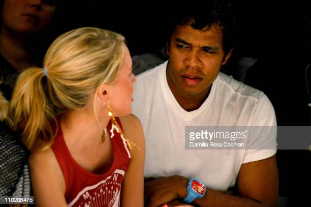 Daisy Johnson and Johnny Nunez during Olympus Fashion Week Spring 2005 Fusha Front Row and Backstage at The Bryant Bryant Park in New York City New...