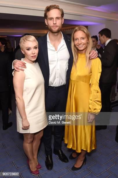 Daisy Lewis Jack Fox and Martha Ward attend the Niquesa PreBAFTA dinner at Claridge's Hotel on January 16 2018 in London England