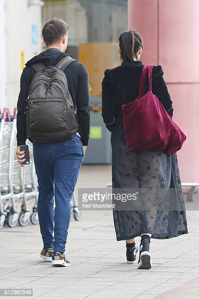 Daisy Lowe and Aljaz Skorjanec seen heading to Strictly rehearsals on October 4 2016 in London England