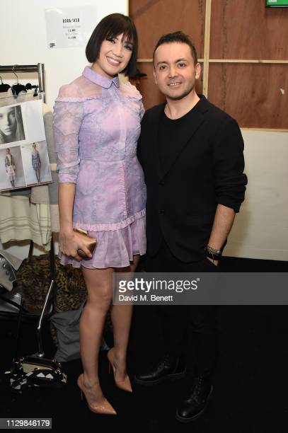 Daisy Lowe and Bora Aksu attend the Bora Aksu show during London Fashion Week February 2019 at BFC Show Space on February 15, 2019 in London, England.