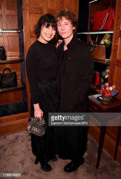 Daisy Lowe and Cameron McMeikan attend the Aspinal of London AW19 presentation during London Fashion Week February 2019 at the Aspinal Of London on...