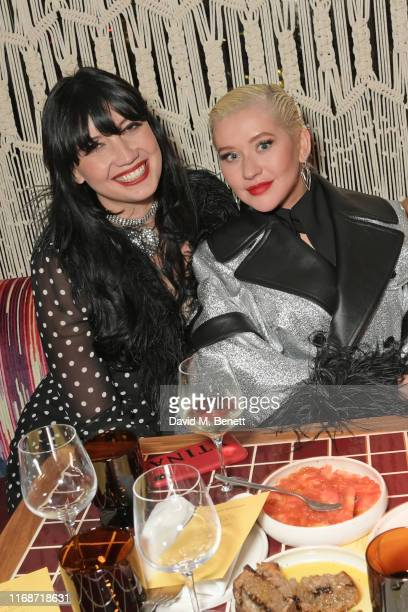 Daisy Lowe and Christina Aguilera attend the LOVE YouTube LFW party supported by PerrietJouet and hosted by Katie Grand Derek Blasberg at Decimo at...