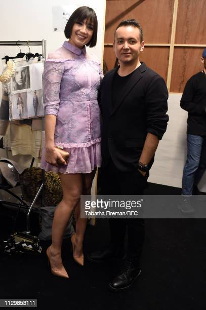Daisy Lowe and Designer Bora A backstage ahead of the Bora Aksu show during London Fashion Week February 2019 at the BFC Show Space on February 15,...