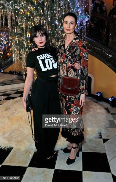 Daisy Lowe and Erin O'Connor attend Claridge's Christmas Tree Party 2017 designed by Karl Lagerfeld on November 28 2017 in London United Kingdom