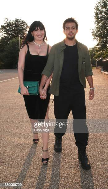 Daisy Lowe and Jordan Saul seen attending Bulgari summer party at The Magazine in Serpentine on July 22, 2021 in London, England.