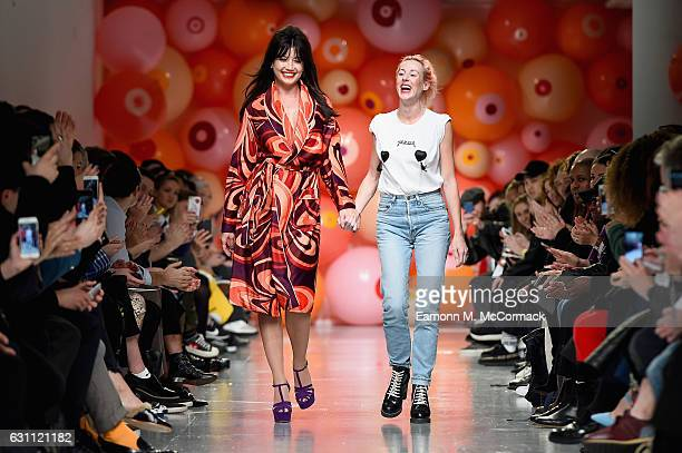 Daisy Lowe and Katie Eary are seen on the runway at the Katie Eary show during London Fashion Week Men's January 2017 collections at BFC Show Space...
