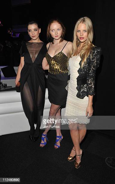 Daisy Lowe and Lily Cole and Marloes Horst attends the cocktail reception for the launch of the 2010 Pirelli Calendar at Old Billingsgate Market on...