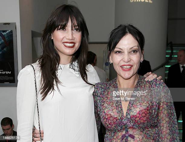 Daisy Lowe and Pearl Lowe arrive at the UK Premiere of 'The Amazing SpiderMan' at Odeon Leicester Square on June 18 2012 in London England