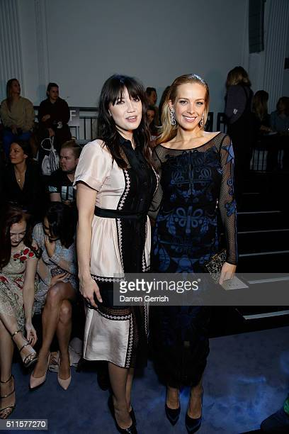 Daisy Lowe and Petra Nemcova attend the Temperley London LFW AW16 runway show at The Lindley Hall on February 21 2016 in London England