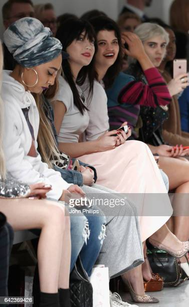 Daisy Lowe and Pixie Geldof attend the Ashley Williams show during the London Fashion Week February 2017 collections on February 17, 2017 in London,...