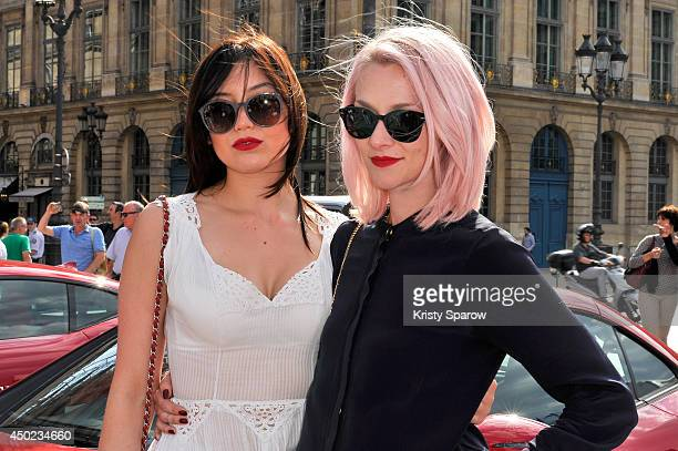 Daisy Lowe and Portia Freeman arrive in Paris after driving from Venice and before moving on to London during 'Cash Rocket' at Place Vendome on June...