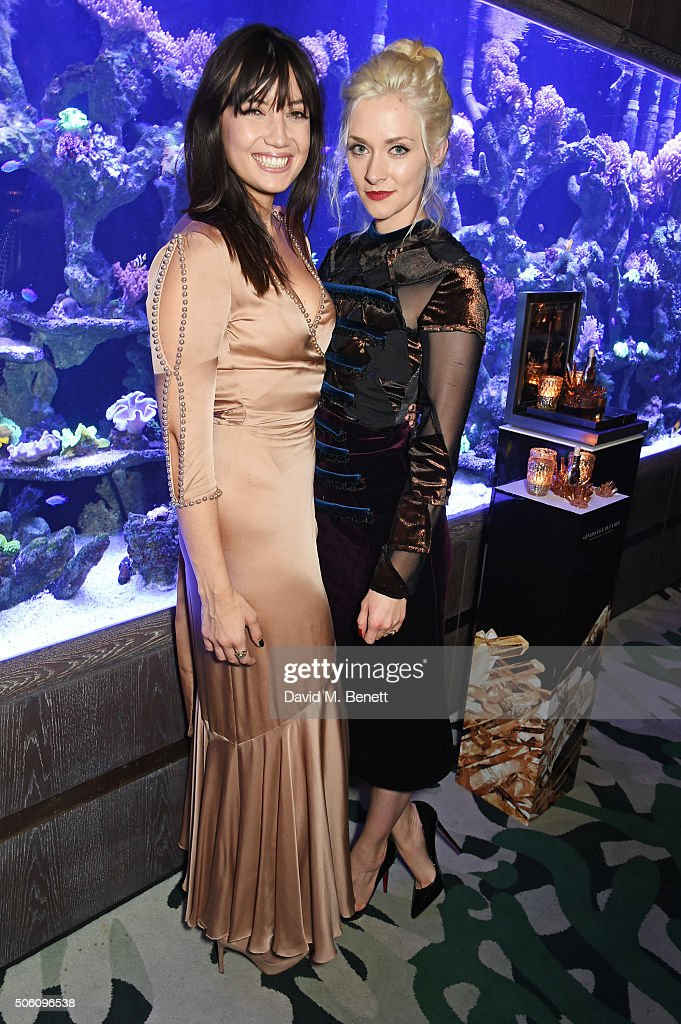 Daisy Lowe (L) and Portia Freeman attend a private dinner hosted by Creme de la Mer to celebrate the launch of Genaissance de la Mer the Serum Essence, available exclusively at Harrods, at Sexy Fish on January 21, 2016 in London, England.
