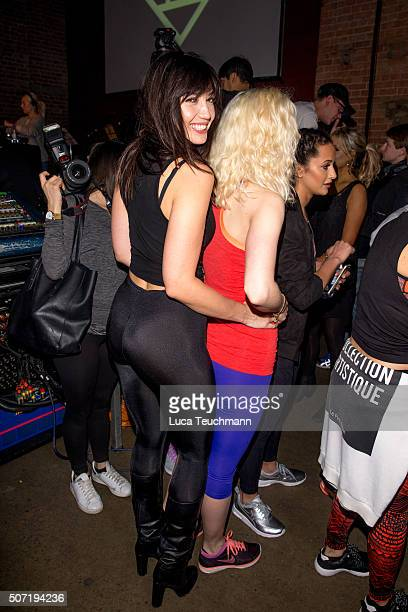 Daisy Lowe and Portia Freeman attend Photocall for Clinique Daybreaker Dance Party at The Village Underground on January 28 2016 in London England