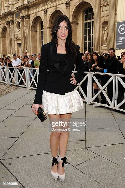 Daisy Lowe arrives for the Louis Vuitton Pret a Porter show as part of the Paris Womenswear Fashion Week Spring/Summer 2010 at Cour Carree du Louvre...