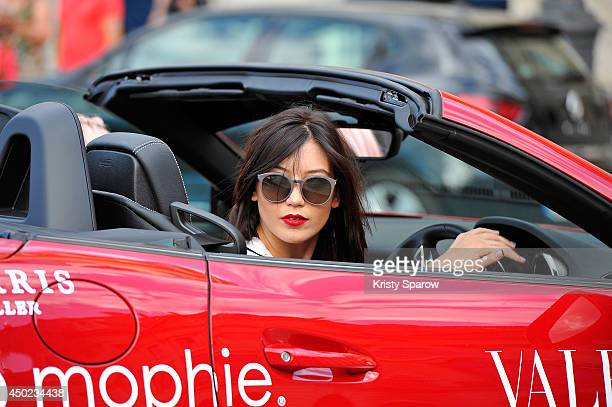 Daisy Lowe arrives in Paris after driving from Venice and before moving on to London during 'Cash Rocket' at Place Vendome on June 7 2014 in Paris...