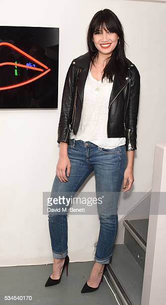 Daisy Lowe attends a private view of 'Art Electric' a collaboration between artists Zoe Grace and John Morrissey at Lawrence Alkin Gallery on May 26...