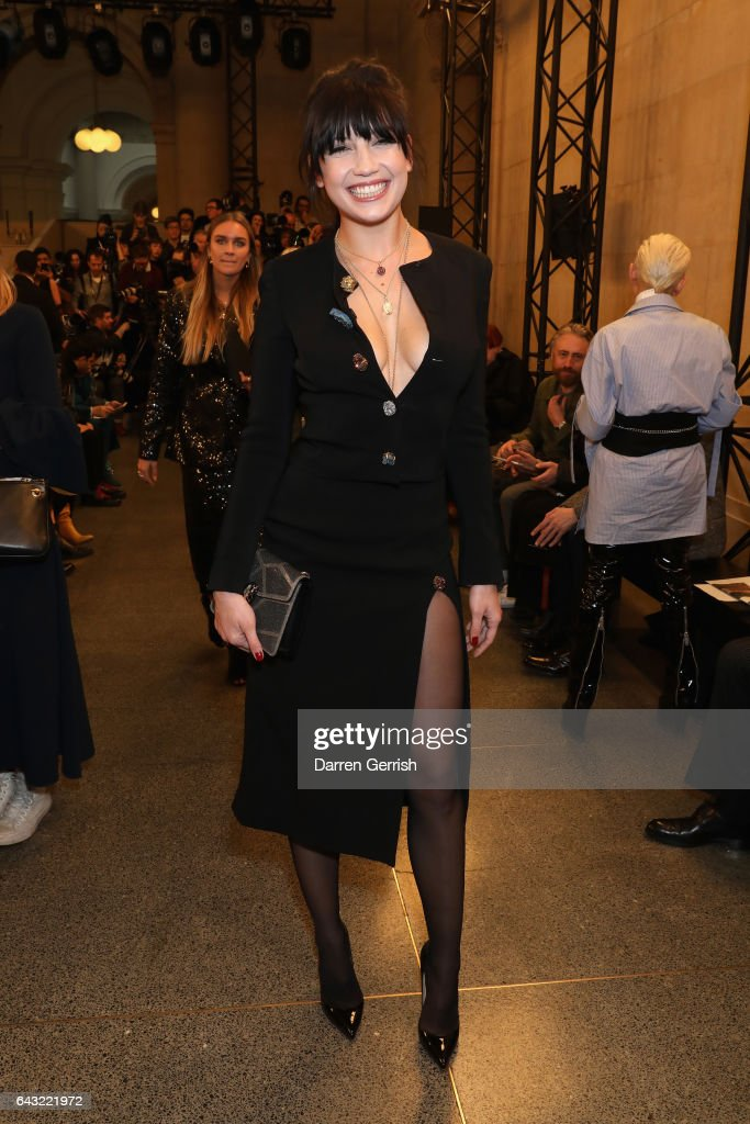 8cc3f6bfaf Daisy Lowe attends the Christopher Kane show during the London ...