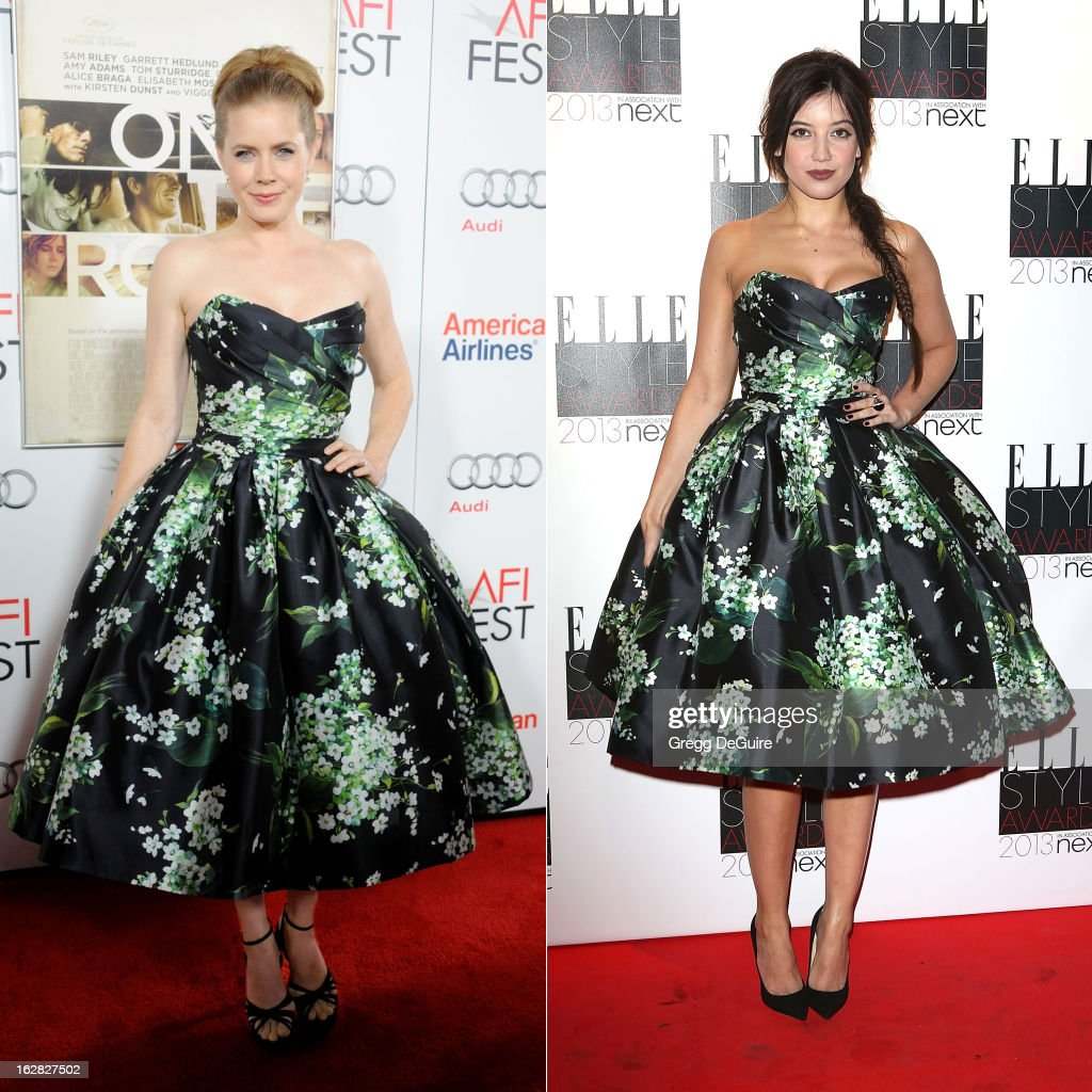 In this composite image a comparison has been made between Amy Adams (L) and Daisy Lowe (R) for a Celebrity Same Dresses feature. Actress Amy Adams arrives at the gala screening of 'On The Road' during the 2012 AFI FEST at Grauman's Chinese Theatre on November 3, 2012 in Hollywood, California. Daisy Lowe attends the Elle Style Awards at Savoy Hotel on February 11, 2013 in London, England.