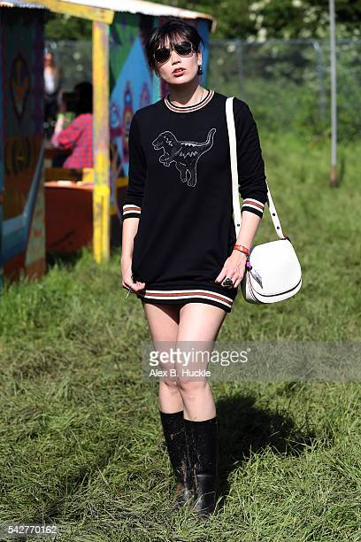 Daisy Lowe attends the Glastonbury Festival at Worthy Farm Pilton on June 24 2016 in Glastonbury England