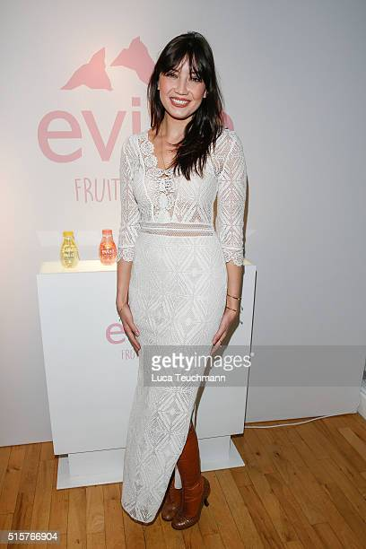 Daisy Lowe attends the launch of Evian's new flavoured range at Liberty on March 15 2016 in London England