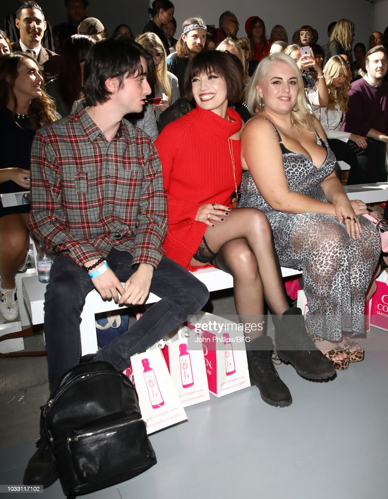 Daisy Lowe (C) attends the Marta Jakubowski Show during London Fashion Week September 2018 at The BFC Show Space on September 14, 2018 in London, England.