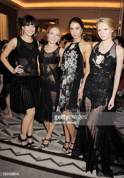 Daisy Lowe Clara Paget Amber Le Bon and Katia Elizarova pose backstage after walking the runway at the Leon Max Winter Dinner and Dance for 'Too Many...