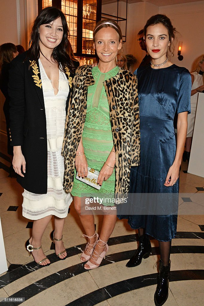 Daisy Lowe, Martha Ward and Alexa Chung attend as mytheresa.com and Burberry celebrate the new MYT Woman at Thomas's on February 21, 2016 in London, England.