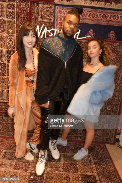 Daisy Lowe MNEK and ELLA EYRE attend Nasty Gal UK Pop Up Launch Party on Carnaby Street on November 1 2017 in London England