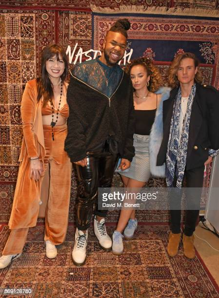 Daisy Lowe MNEK ELLA EYRE AND Dougie Poynter attend Nasty Gal UK Pop Up Launch Party on Carnaby Street on November 1 2017 in London England