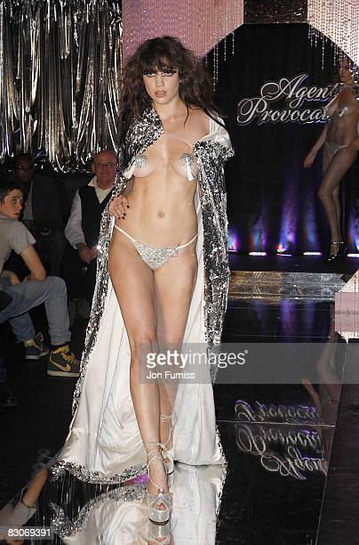 Daisy Lowe models lingerie at the Agent Provocateur fragrance launch party at the Dolce Club on September 25, 2008 in London, England.