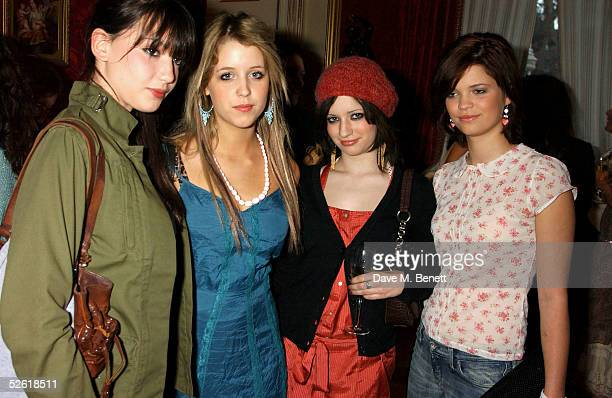 Daisy Lowe, Peaches Geldof, Lauren Henri and Pixie Geldof attend the Miss Selfridge Fashion Show & Party at the Wallace Collection on April 6, 2005...