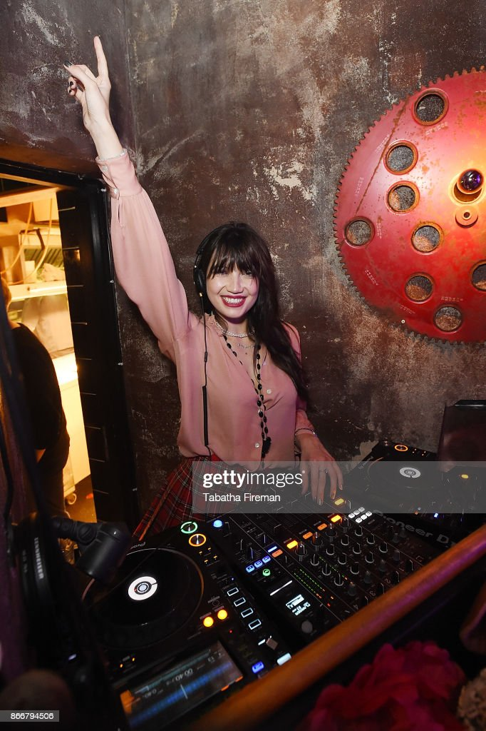 Daisy Lowe performs a DJ set for Badoos #DateOfTheDead party at La Bodega Negra on October 26, 2017 in London, England.