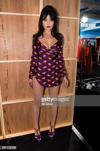 Daisy Lowe poses backstage ahead of the Katie Eary show during London Fashion Week Men's January 2017 collections at BFC Show Space on January 7,...