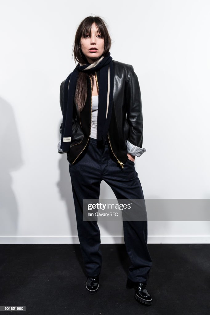 Daisy Lowe poses backstage ahead of the Oliver Spencer show during London Fashion Week Men's January 2018 at BFC Show Space on January 6, 2018 in London, England.