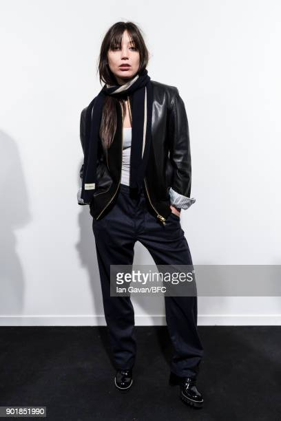 Daisy Lowe poses backstage ahead of the Oliver Spencer show during London Fashion Week Men's January 2018 at BFC Show Space on January 6, 2018 in...