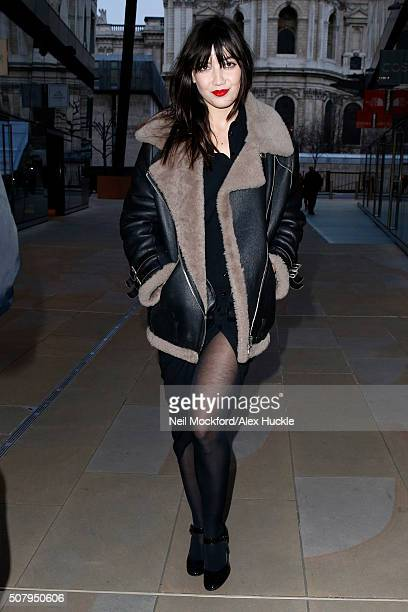 Daisy Lowe seen arriving at the Madison Restaurant One New Change for a Daisy Lowe x TK Maxx photocall on February 2 2016 in London England