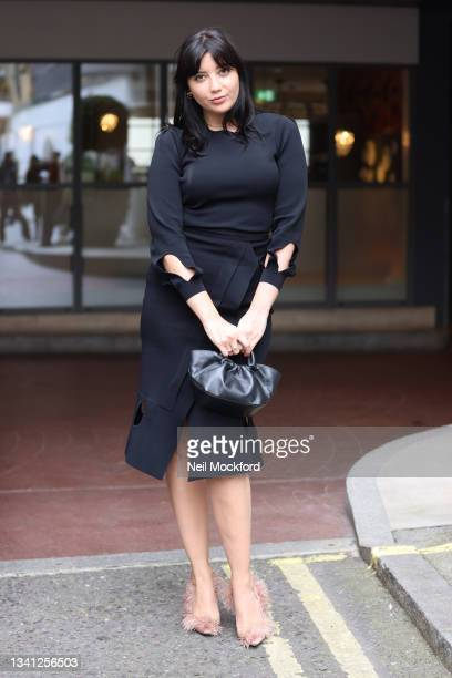 Daisy Lowe seen attending Roland Mouret at the Soho Hotel during London Fashion Week September 2021 on September 19, 2021 in London, England.