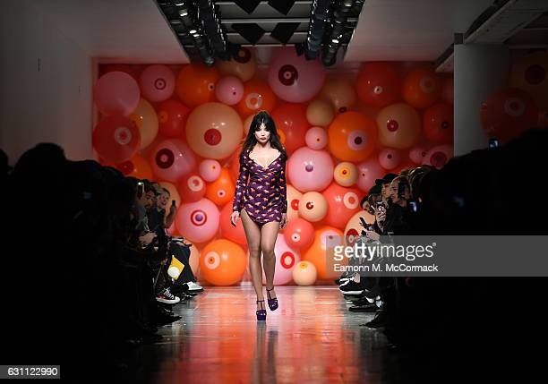 Daisy Lowe walks the runway at the Katie Eary show during London Fashion Week Men's January 2017 collections at BFC Show Space on January 7, 2017 in...
