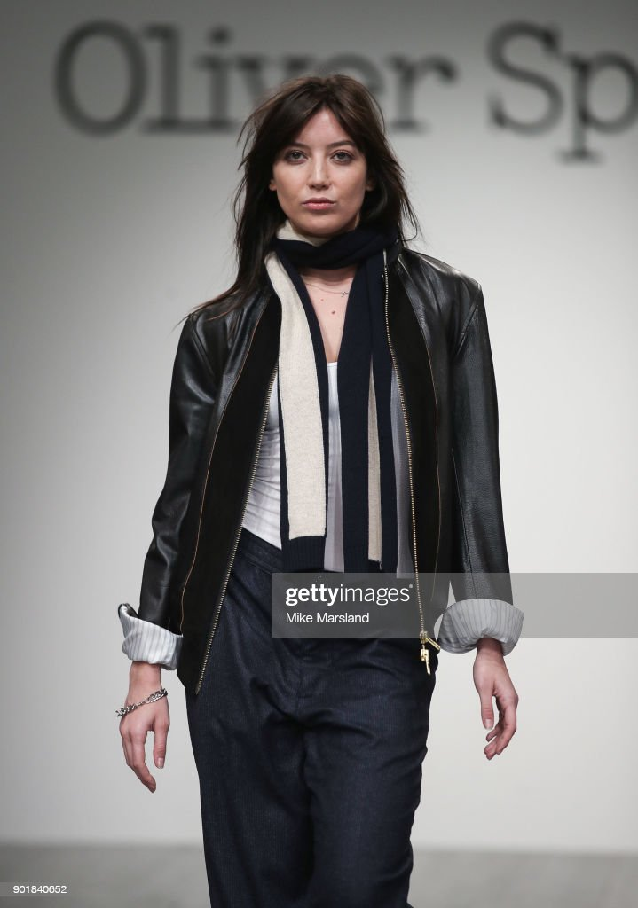 Daisy Lowe walks the runway at the Oliver Spencer show during London Fashion Week Men's January 2018 at BFC Show Space on January 6, 2018 in London, England.