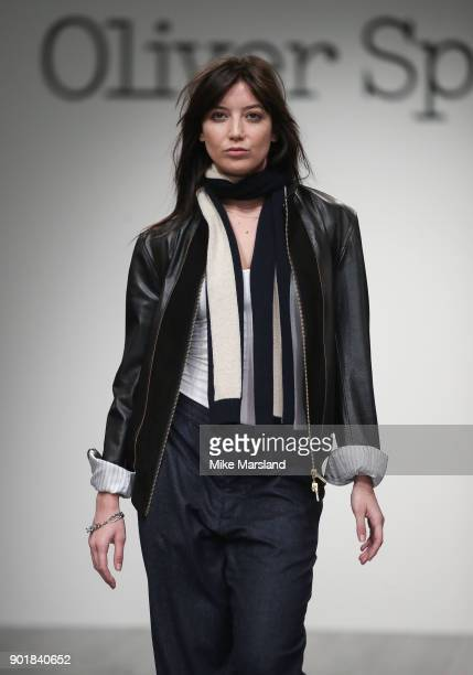 Daisy Lowe walks the runway at the Oliver Spencer show during London Fashion Week Men's January 2018 at BFC Show Space on January 6 2018 in London...